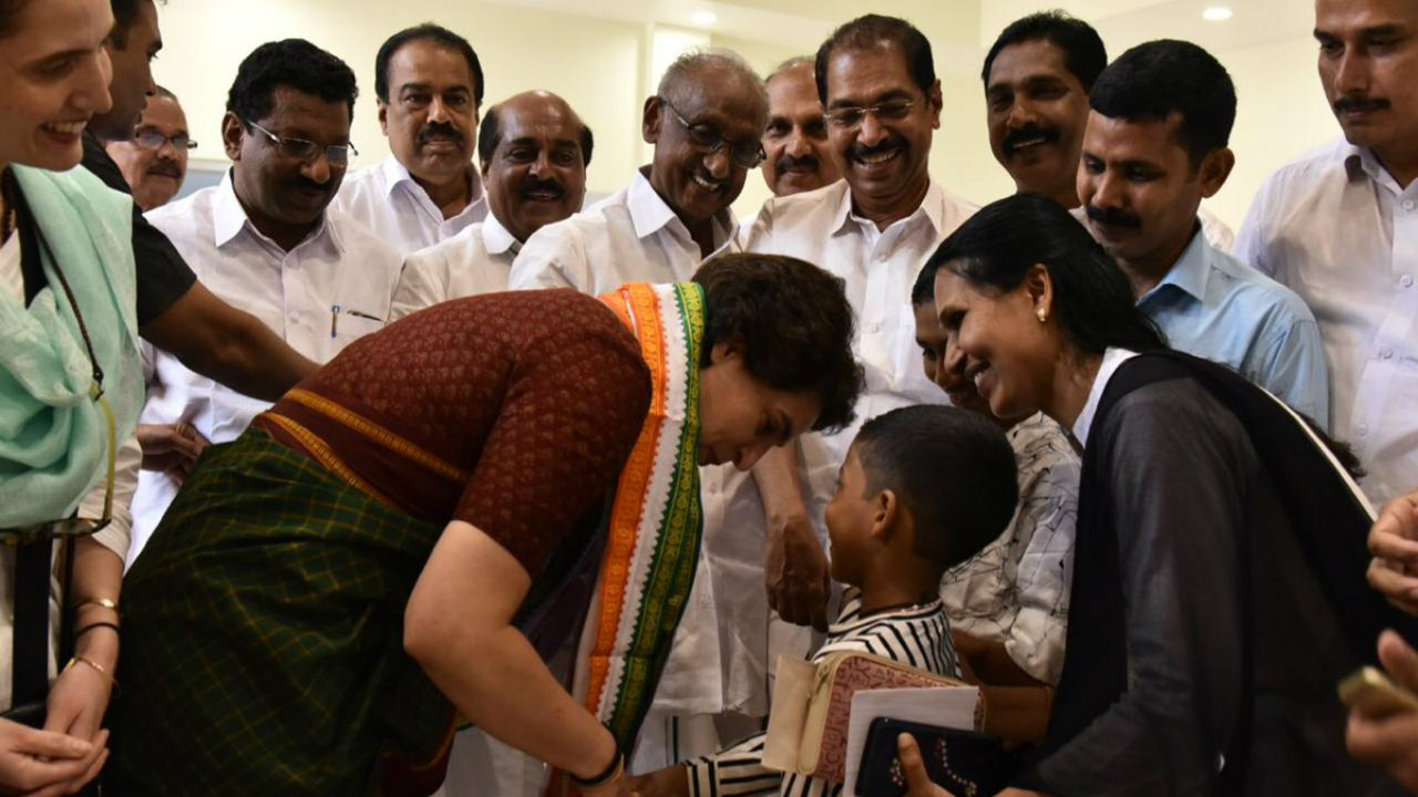 All India Congress Committee (AICC) General Secretary for Uttar Pradesh (East) Priyanka Gandhi Vadra interacts with people in Wayanad, Kerala while campaigning for a brother and Congress President Rahul Gandhi on April 20. (Image: Twitter/@INCIndia)