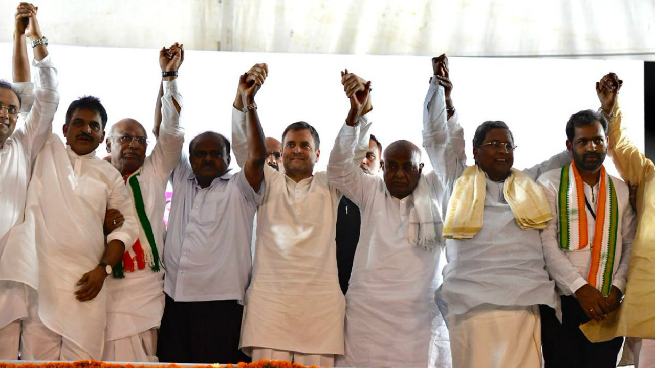 Congress President Rahul Gandhi along with former prime minister HD Deve Gowda, Karnataka Chief Minister HD Kumaraswamy and former CM Siddaramaiah during a public meeting on April 13. (Image: Twitter/@INCIndia)