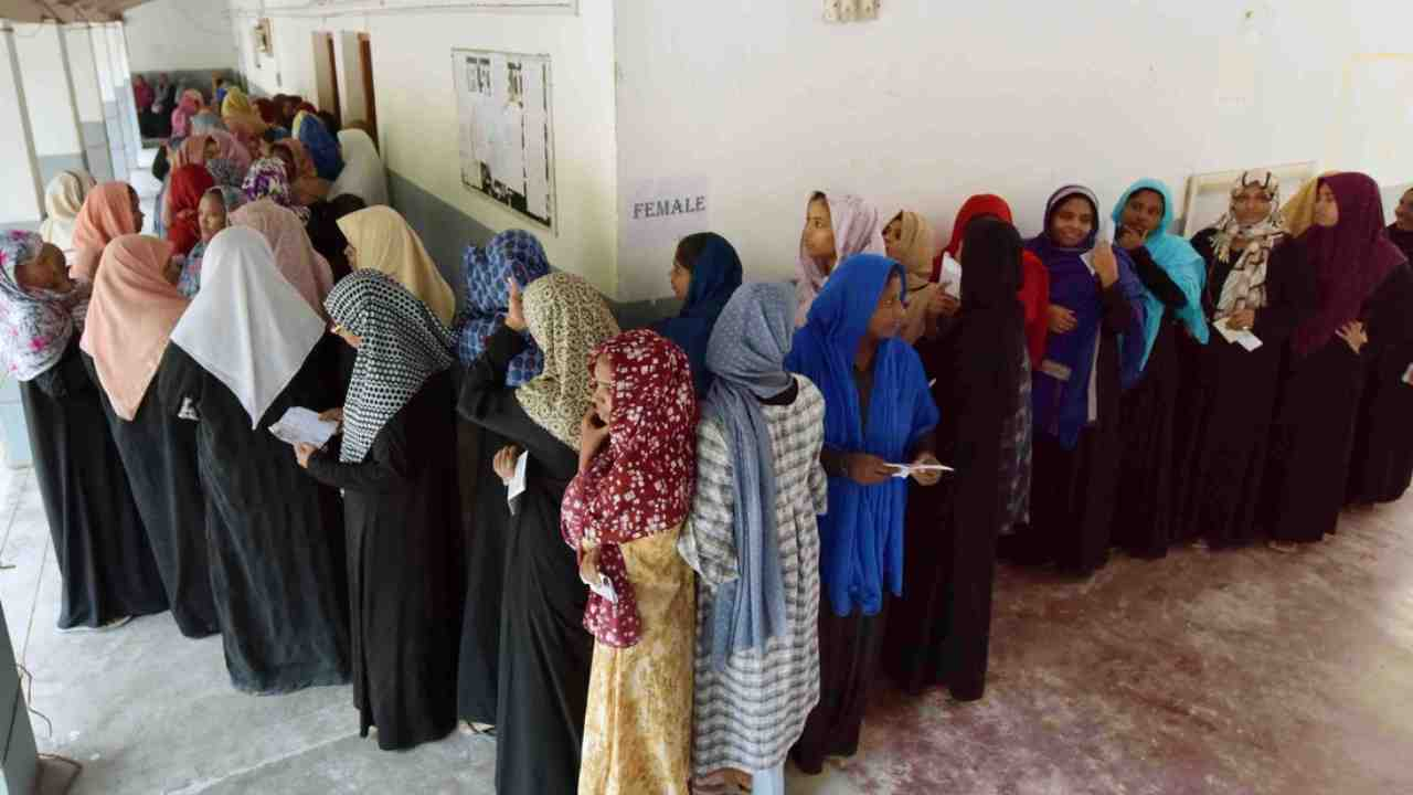 Voting underway at Agatti Island in Lakshadweep. The Union Territory has recorded 51 percent voter turnout so far. (Image: Twitter/@SpokespersonECI)