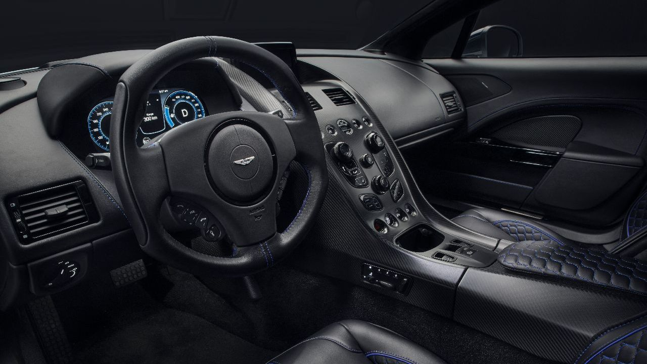 On the inside you get a 10-inch digital display providing all the vital information with carbon fibre lined throughout the car to adhere to Aston Martin's strict weight-loss policy. (Image source: Aston Martin)