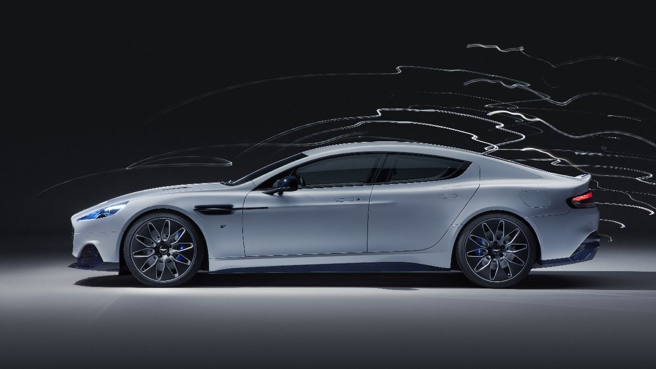 Getting down to the real deal, the Rapide E is 601 bhp rear-whee-drive powerhouse twisting out 950 Nm of torque. All of this from two all-electric motors only. 0-90 km/h comes in under four seconds and tops out at 250 km/h or 155 mph (see what they did there?). (Image source: Aston Martin)