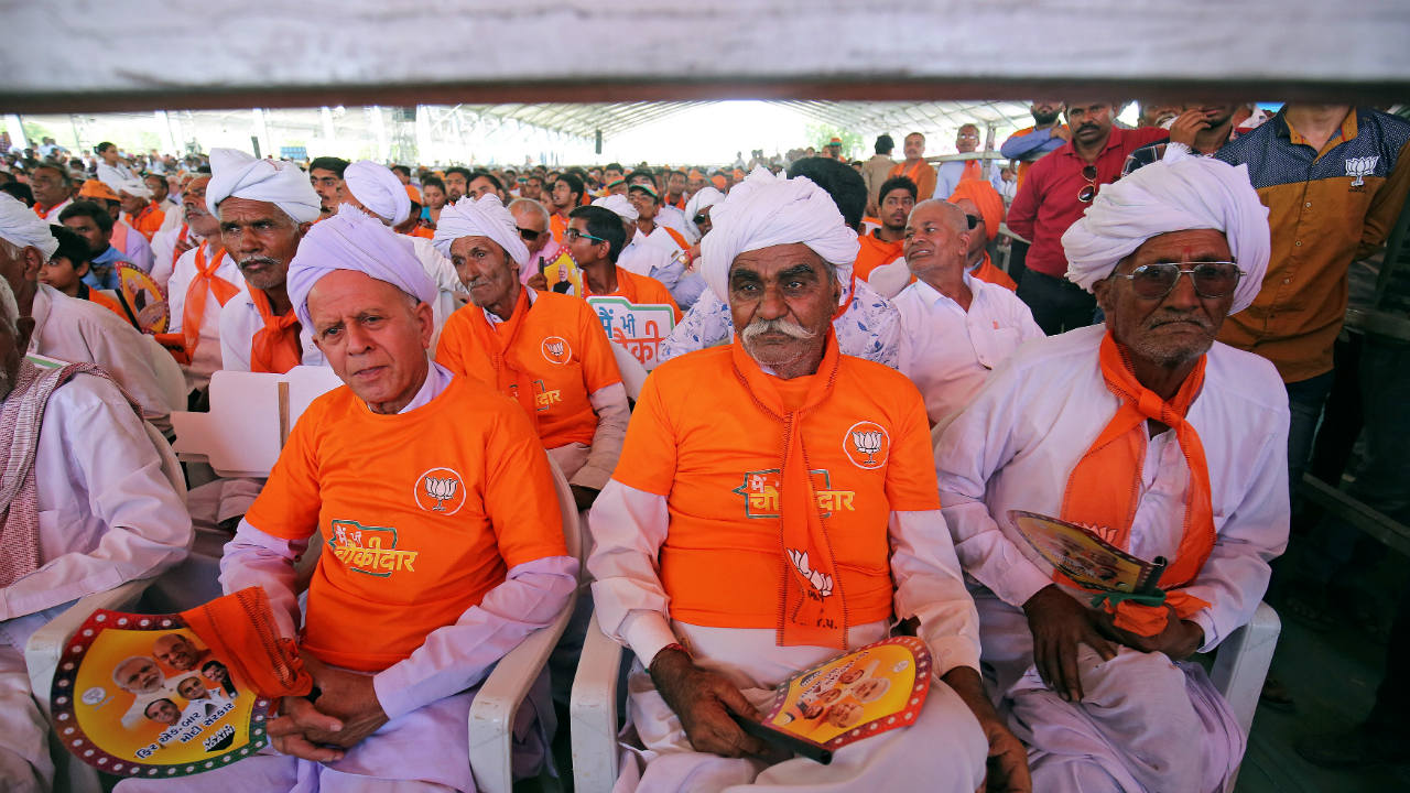 BJP supporters attend an election campaign rally being addressed by PM Narendra Modi in Patan, Gujarat. (Image: Reuters)