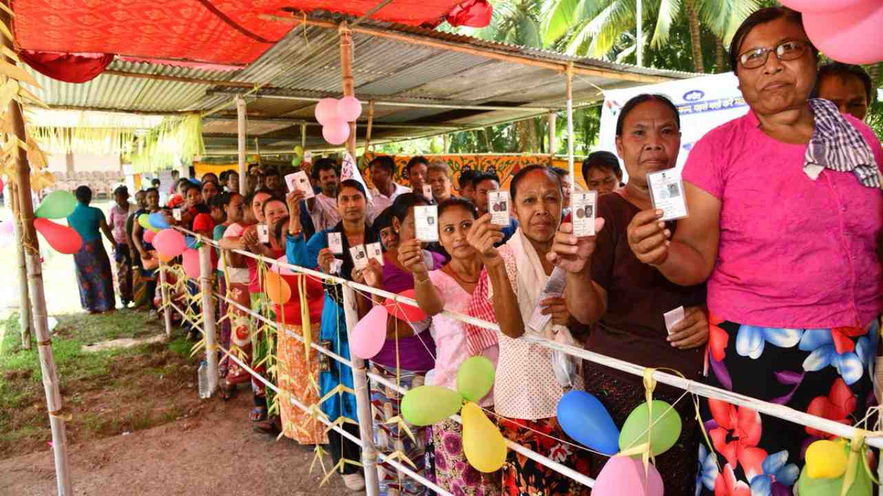 Voters form a line outside a polling booth in Car Nicobar, Andaman and Nicobar Islands. The Union Territory contributes one Member of Parliament (MP) to the Lok Sabha. (Image: Twitter/ @SpokespersonECI)