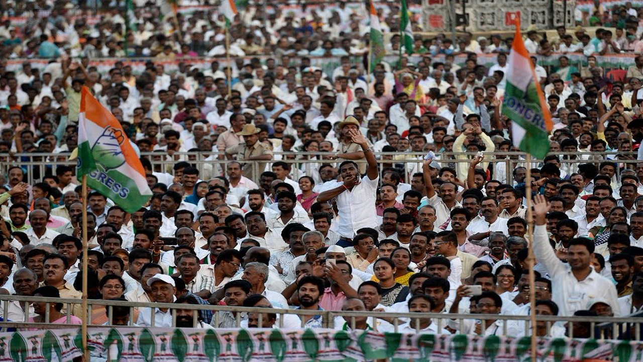 Congress supporters during a Rahul Gandhi rally in Nelamangala, Karnataka (Image: Congress, Twitter)