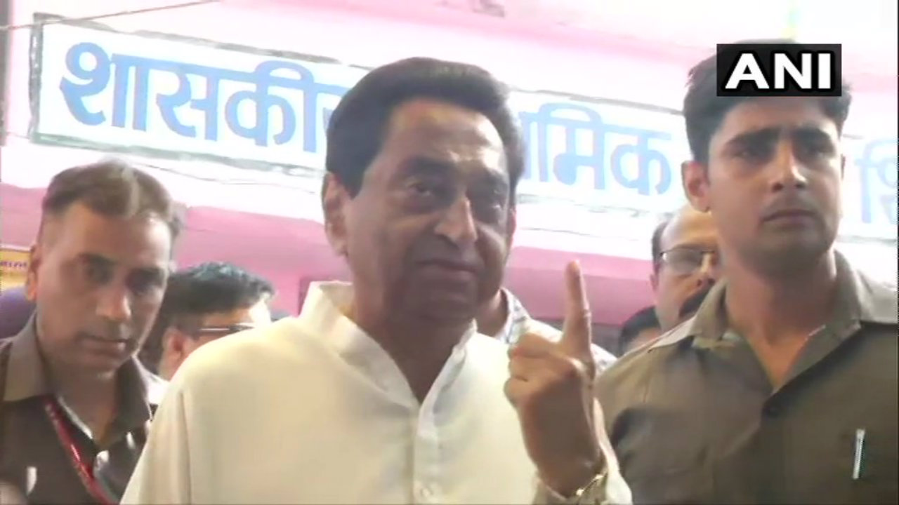 Madhya Pradesh Chief Minister Kamal Nath casts his vote in Shikarpur, Chhindwara. He is contesting in the Assembly by-elections being held there simultaneously. (Image: ANI)