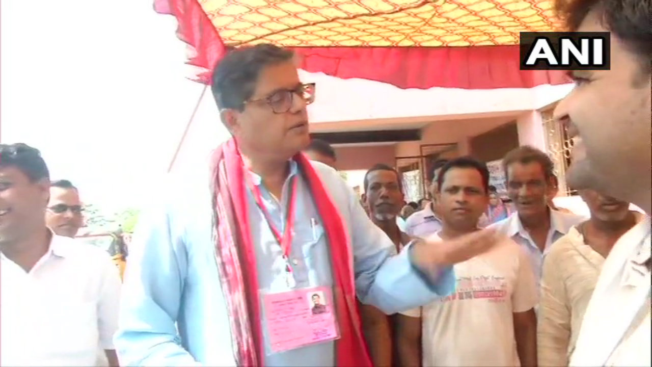 BJP candidate from Kendrapara, Baijayant Panda at a polling booth in the constituency. (Image: ANI)