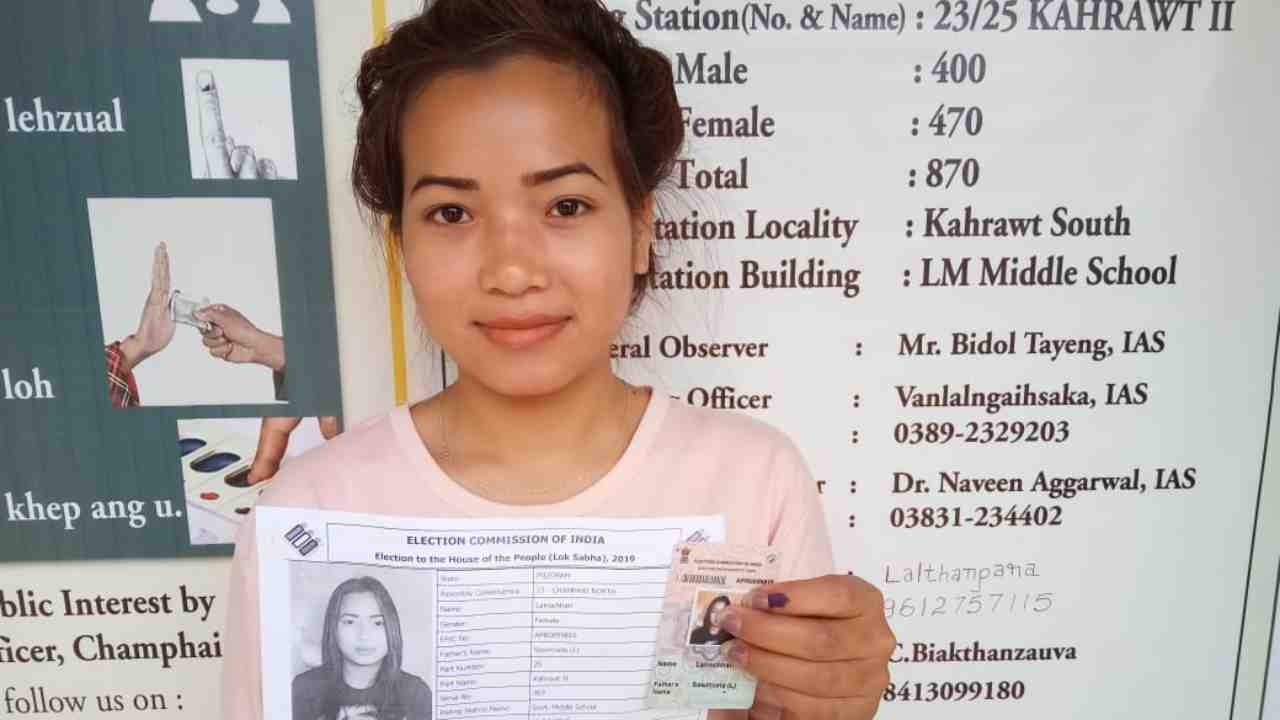 A first-time voter at Champai district in Mizoram. (Image: Twitter/@SpokespersonECI)