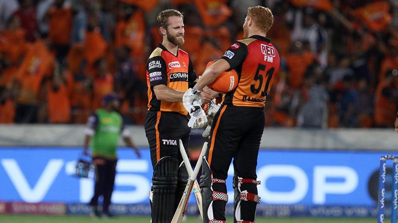 Kane Willamson and Jonny Bairstow celebrate after sealing a 9-wicket victory against Kolkata Knight Riders. (Image: BCCI, iplt20)
