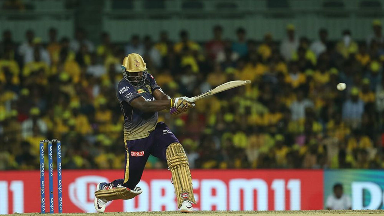 KKR's star performer this season Andre Russell worked hard to get runs and completed his fifty on the very last ball of KKR's innings as the visitors huffed and puffed their way to mere 108/9 in 20 overs.