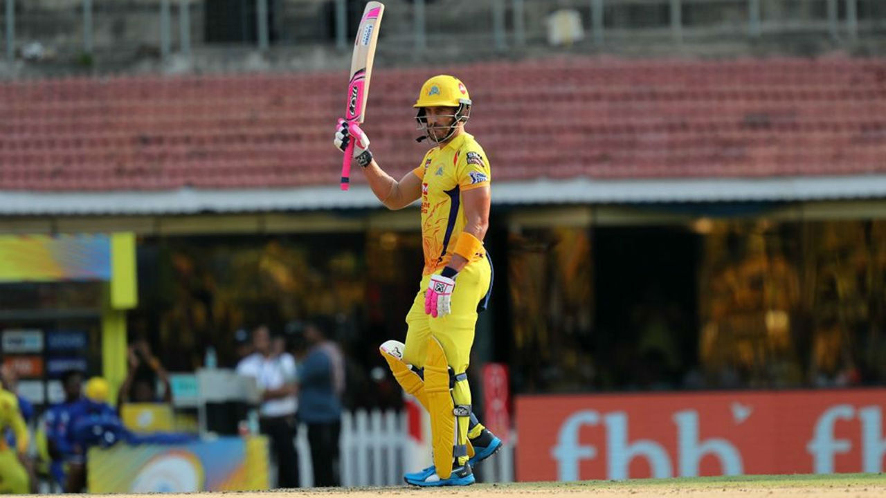 du Plessis completed his fifty in style as he launched a delivery from Murgan Ashwin in the 13th over for a huge six.