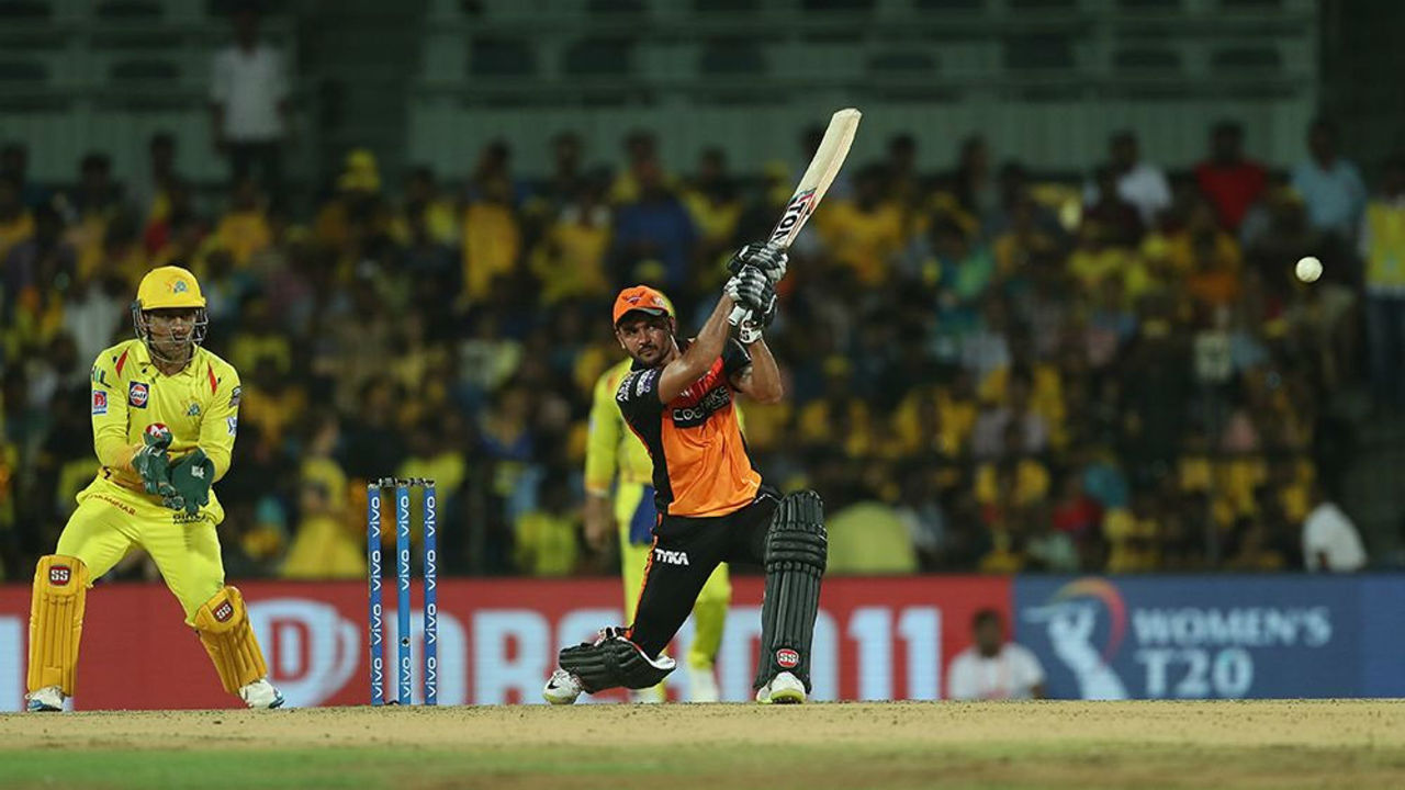 Manish Pandey remained unbeaten on 83 from 49 balls as SRH finished with a total of 175/3 in 20 overs.