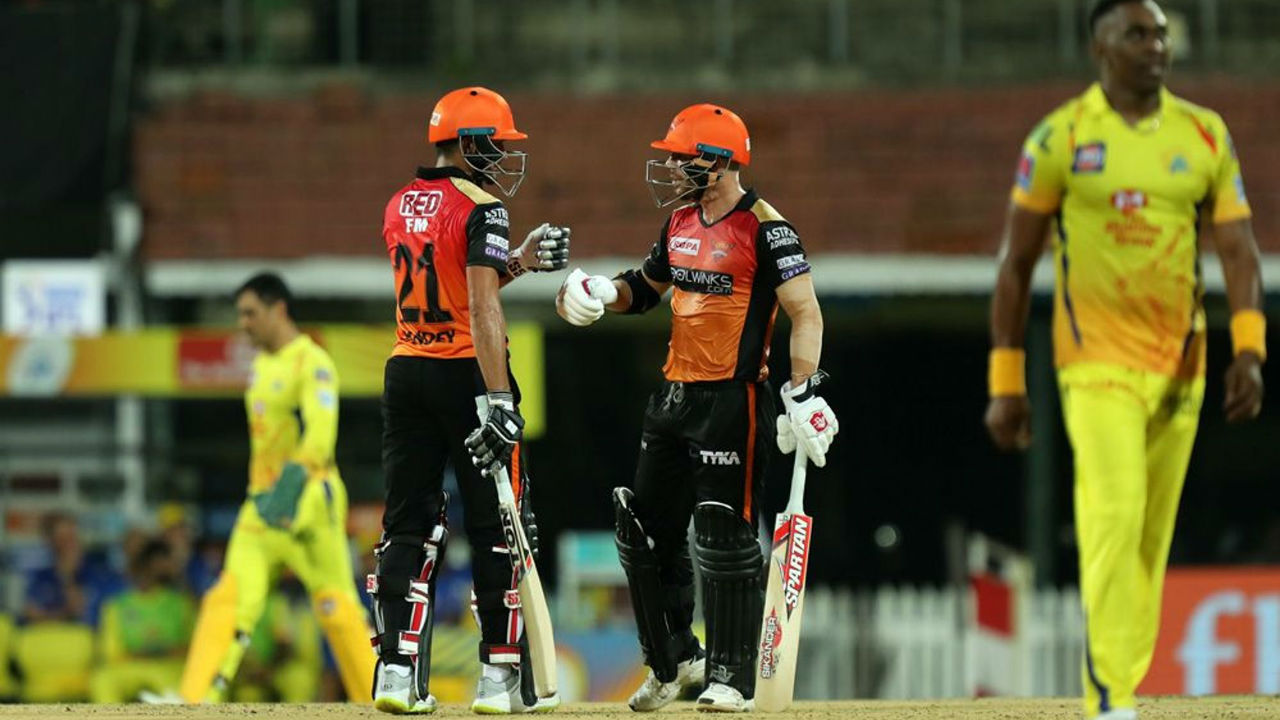 Manish Pandey and David Warner struck a 115-run stand as the two batsmen set the stage for a big total.