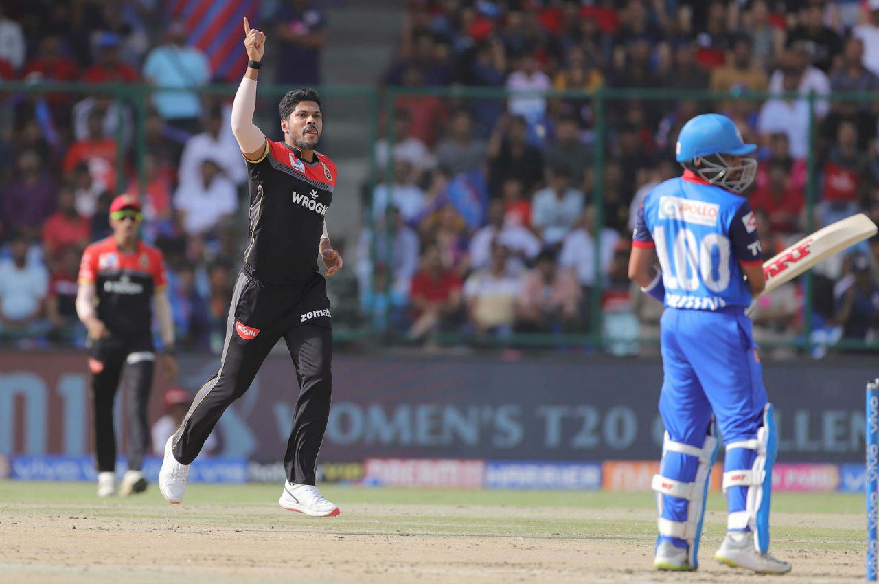 Umesh Yadav gave RCB an early breakthrough as he dismissed a dangerous looking Prithvi Shaw in just the 4th over of the match. Shaw made 18 off 10 as DC were 35/1.