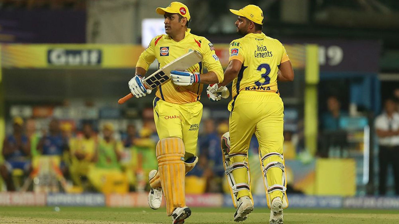 MS Dhoni and Suresh Raina stitched a 40-run partnership to stabilize a faltering CSK chase before Dhoni was trapped LBW by Narine in the 16th over. Dhoni scored 16 off 13. CSK were 121/5 at fall of Dhoni's wicket.