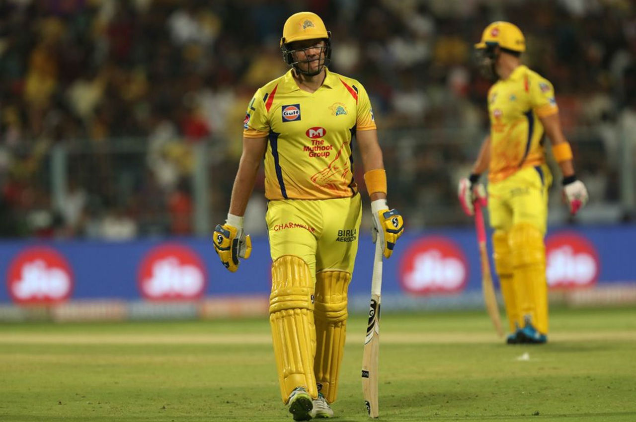 Chasing 162, CSK opener Shane Watson was trapped in front of the wickets by KKR pacer Harry Gurney in the 4th over. Sunil Narine then clean-bowled Faf du Plessis in the 6th over. Waston made 6 while du Plessis scored 24 off 16 balls as CSK were 44/2.