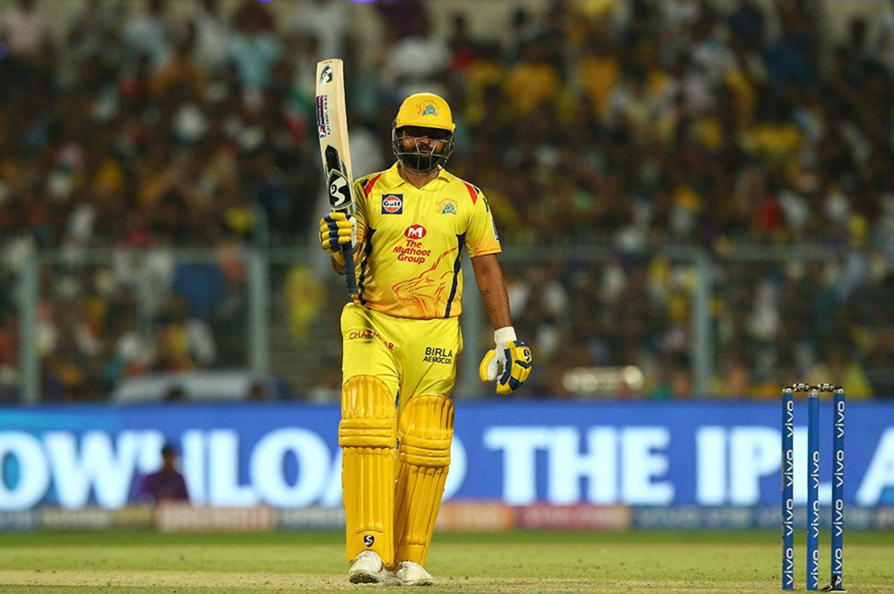 Raina completed his fifty in the 17th over as he worked a delivery from Pasidh Krishna for a single.