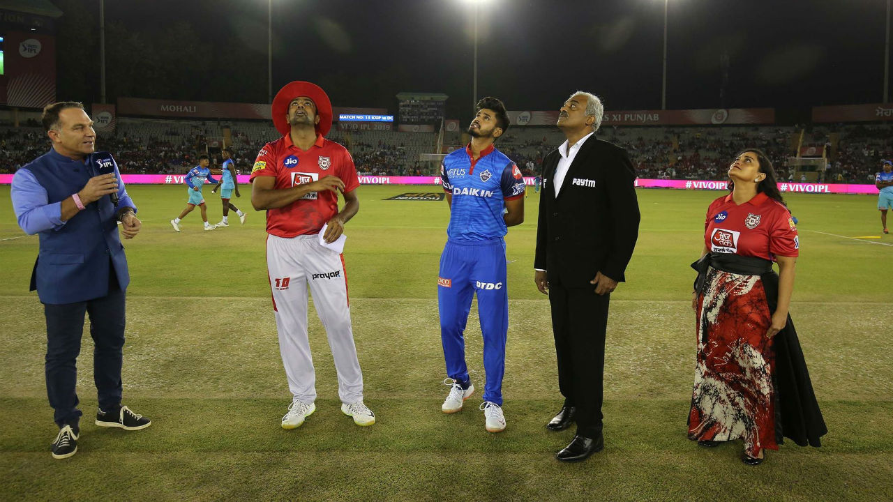 For match 13 of IPL 2019 Kings XI Punjab met Delhi Capitals at Punjab Cricket Association IS Bindra Stadium, Mohali. DC skipper Shreyas Iyer won the toss and opted to bowl first. KXIP made a surprise change as Chris Gayle sat out of the playing xi and Sam Curran was included in the team. (Image: BCCI, iplt20.com)