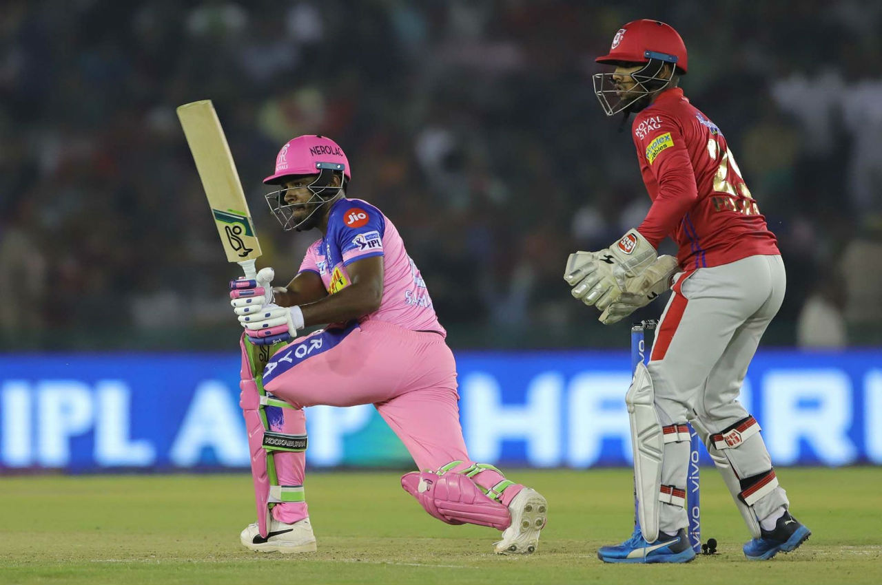 Sanju Samson was involved in a 59-run partnership with Rahul Tripathi before he was dismissed by R Ashwin in the 12th over.