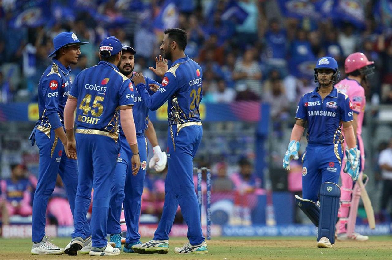 Krunal Pandya broke the Buttler-Rahane partnership as he sent back Rahane in the 7th over. Rahane made 37 off 21 balls.