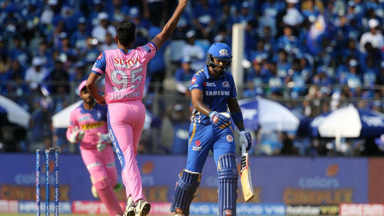 Suryakumar Yadav was dismissed by Dhawal Kulkarni in the 14th over as MI were 117/2. Yadav made 16 off 10 balls.