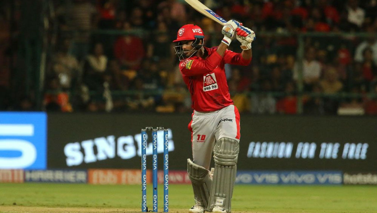 After Gayle's dismissal, Rahul and Mayank Agarwal took the initiative of chasing the total down. Agarwal in his cameo of 35 off 21 balls hit 5 4s and one 6 before Marcus Stoinis got him caught by Yuzvendra Chahal in the 10th over. KXIP were going strong at 101/2.