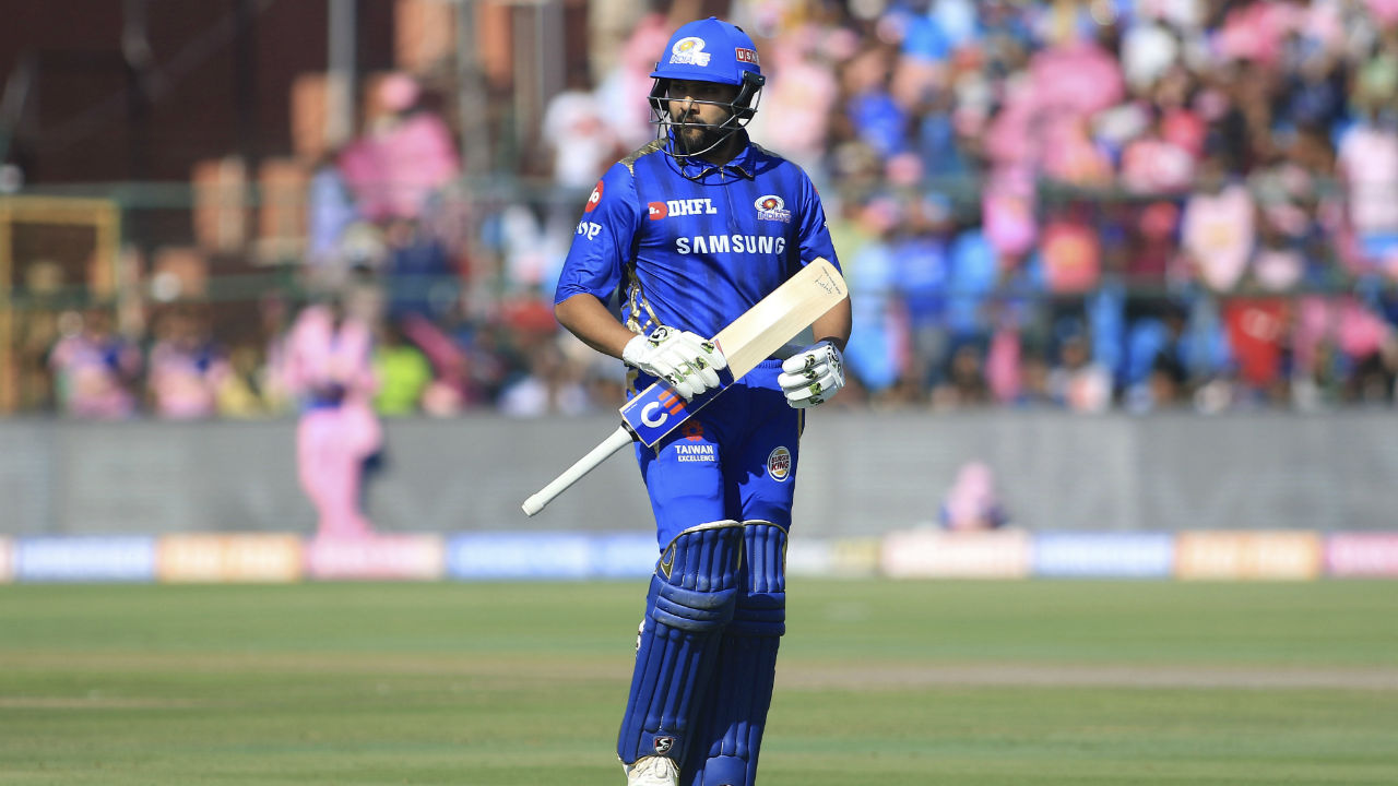 Rajasthan Royals met Mumbai Indians for match 36 of IPL 2019. RR has new skipper in Steve Smith and Smith won the toss and opted to bowl. MI captain Rohit Sharma departed early as he was caught and bowled by Shreyas Gopal in just the 3rd over of the match. Rohit made 5 from 7 balls. (Image: AP)