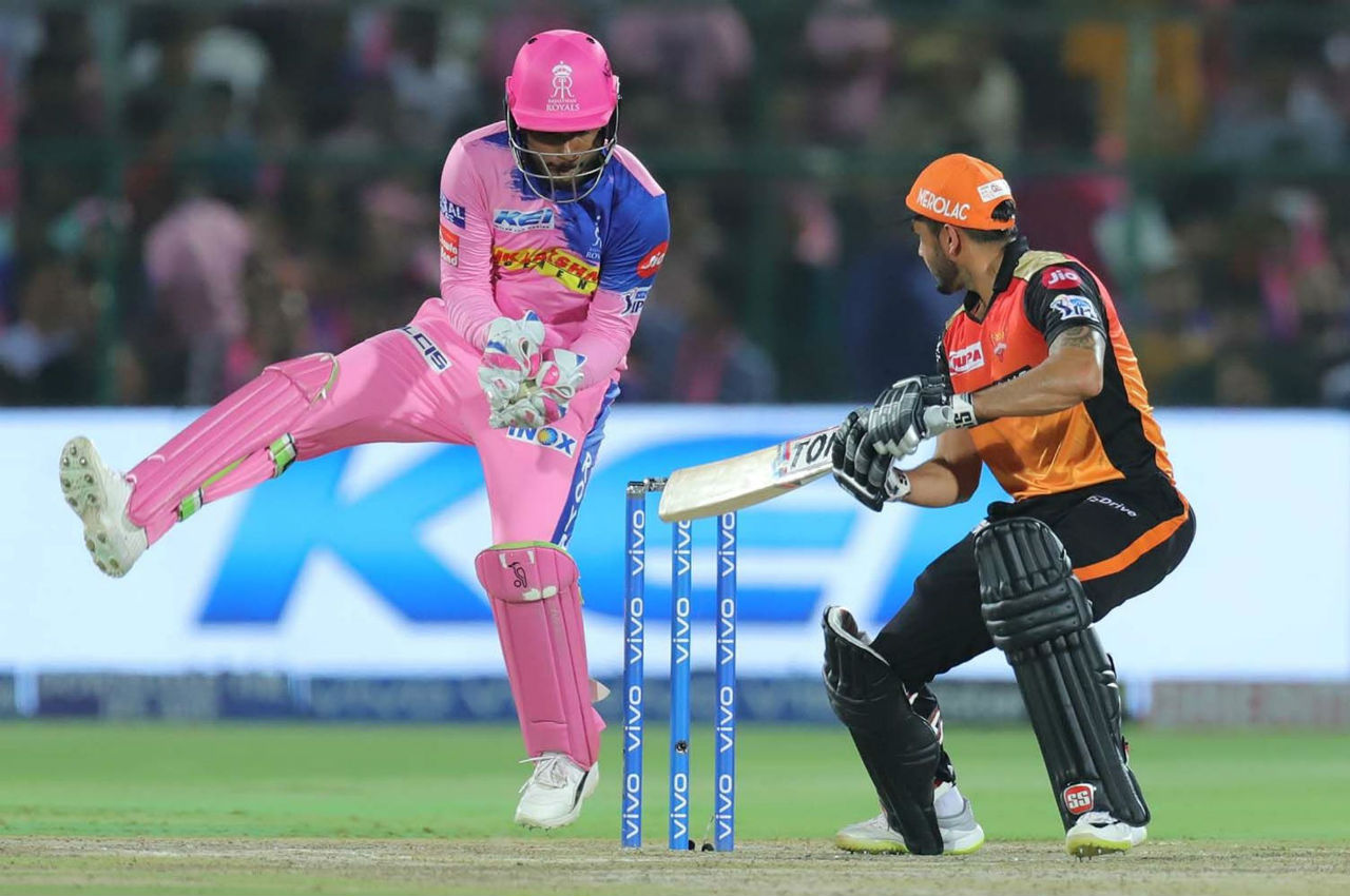 Pandey's stay in the middle ended when he edged a delivery from Shreyas Gopal into the gloves of Sanju Samson on the last delivery of the 15th over. Pandey made 61 off just 36 balls. In the next over Varun Aaron dismissed Vijay Shankar. SRH were 125/4 at loss of Shankar's wicket. (Image: BCCI, iplt20.com)