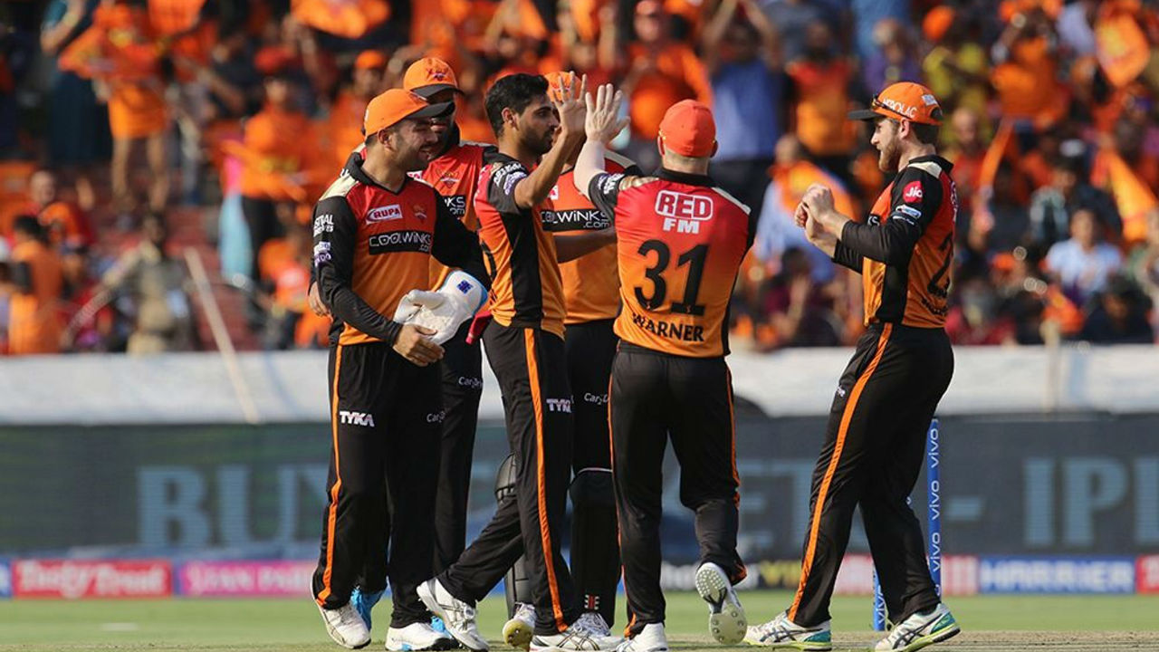 SRH bowlers chocked the KKR innings as Bhuvneshwar Kumar got Nitish Rana caught by Jonny Bairstow in the 8th over.