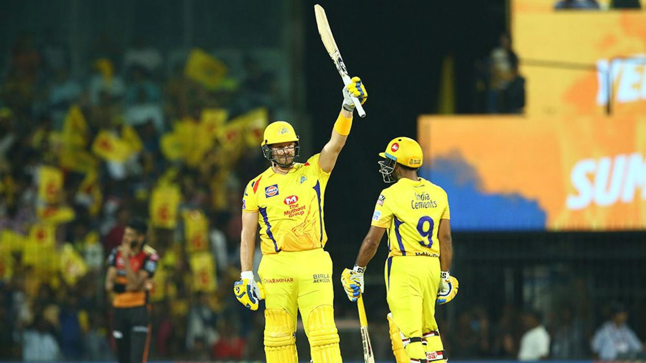 Shane Watson completed his fifty in the 12th over. Watson kept attacking SRH bowlers to put his team in command.