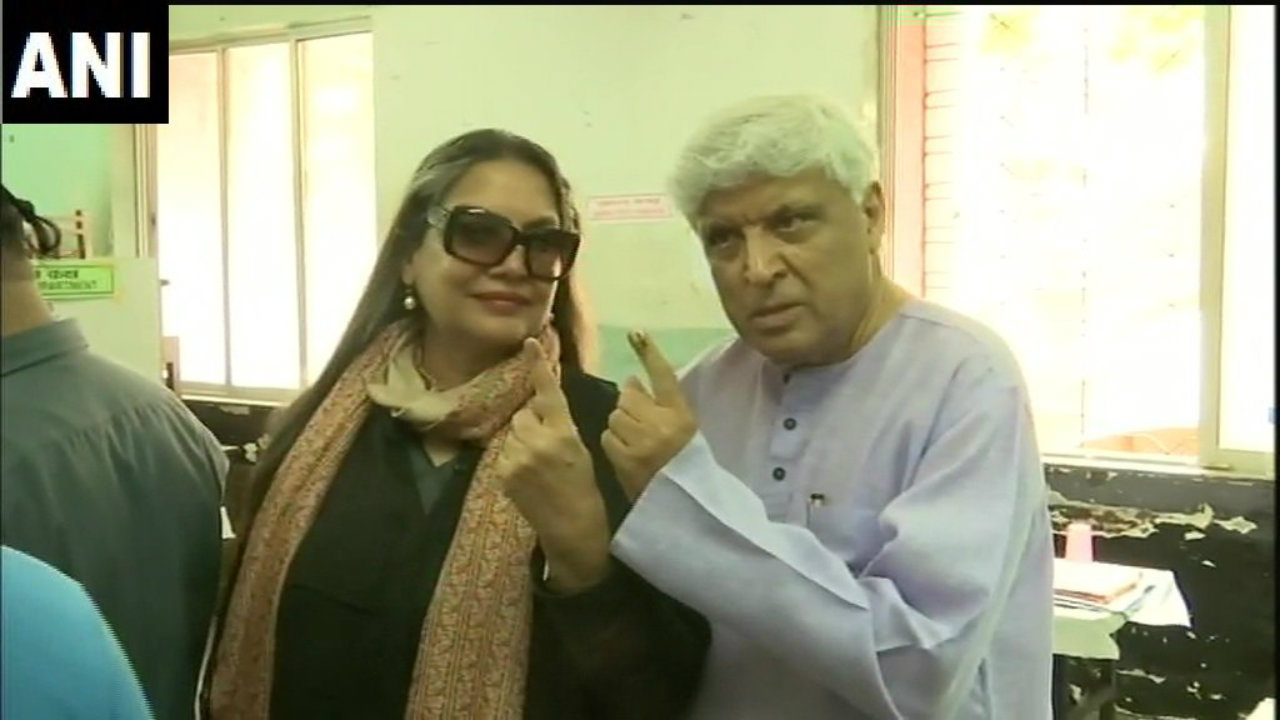 Actor Shabana Azmi and lyricist Javed Akhtar after casting their votes in Mumbai. (Image: ANI)