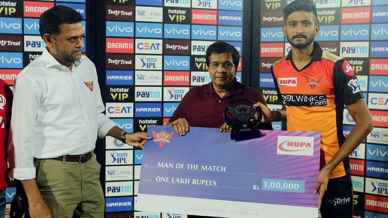 Khaleel Ahmed was adjudged the Man of the Match for his effor with the ball. (Image: BCCI, iplt20)