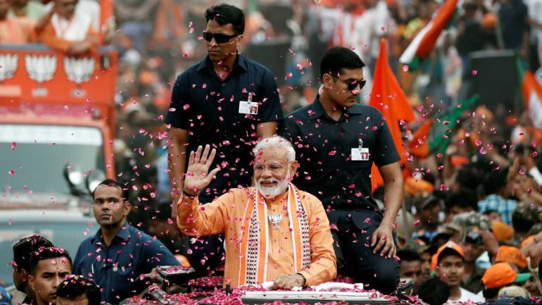 Image result for Modi files nomination from Varanasi, NDA stands in support