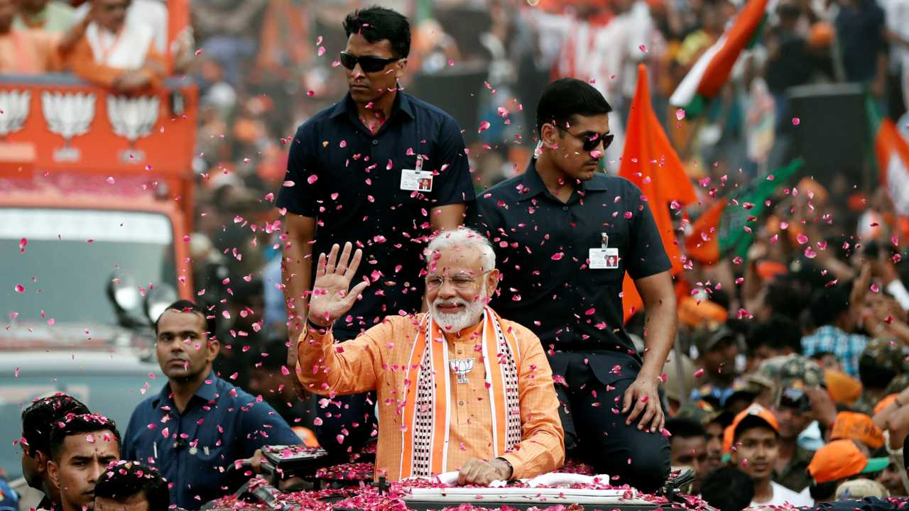The Modi wave has swept the nation once again as BJP led National Democratic Alliance (NDA) is set for a landslide victory in the general elections. Everyone from analysts to industrialists took to social media to congratulate PM Modi, who is set to embark on a second stint at the helm of the world's largest democracy. (Image: Moneycontrol)