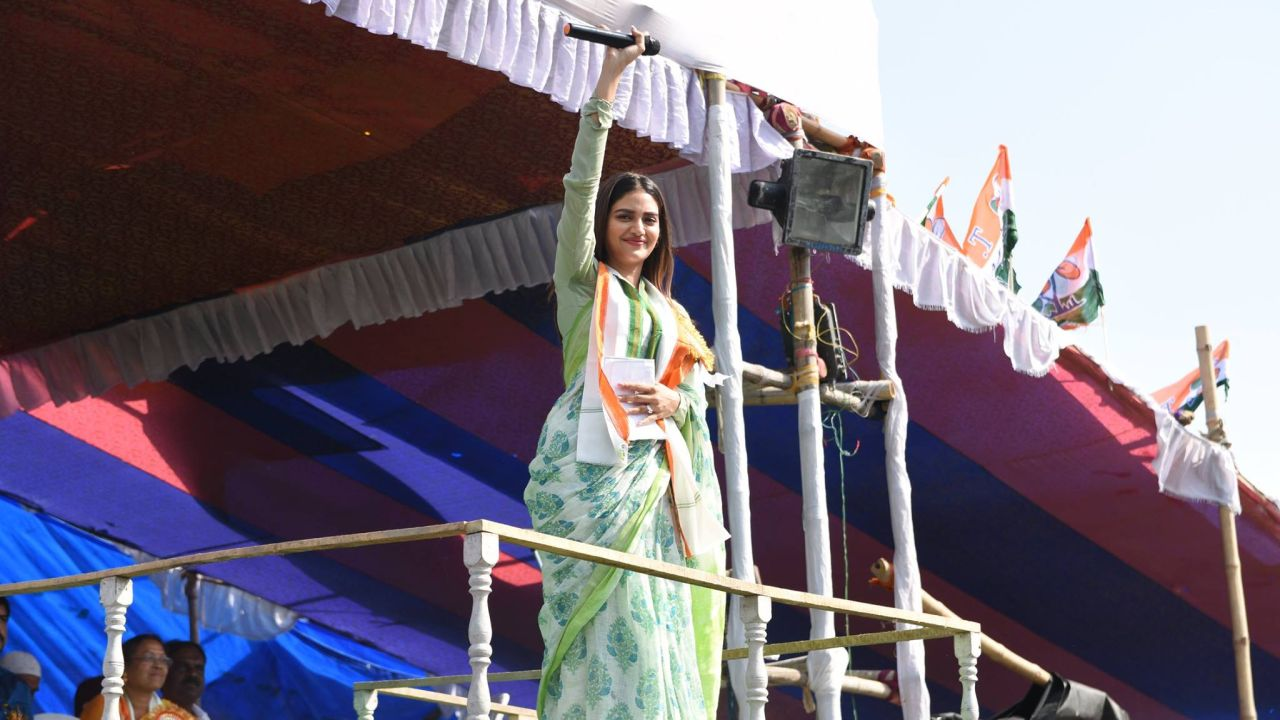 Nusrat Jahan | Profession - Actress | Bengali film actor Nusrat Jahan has joined the Trinamool Congress (TMC). She has been fielded from Basirhat in North 24 Parganas district. (Image: Facebook/@NusratJahanTMCBasirhat)