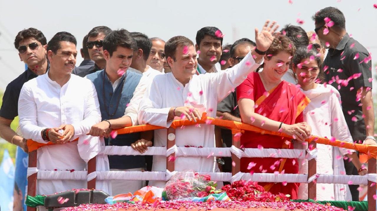 Rahul Gandhi, Priyanka Gandhi Vadra and Robert Vadra during a roadshow in Amethi. (Image: Twitter)