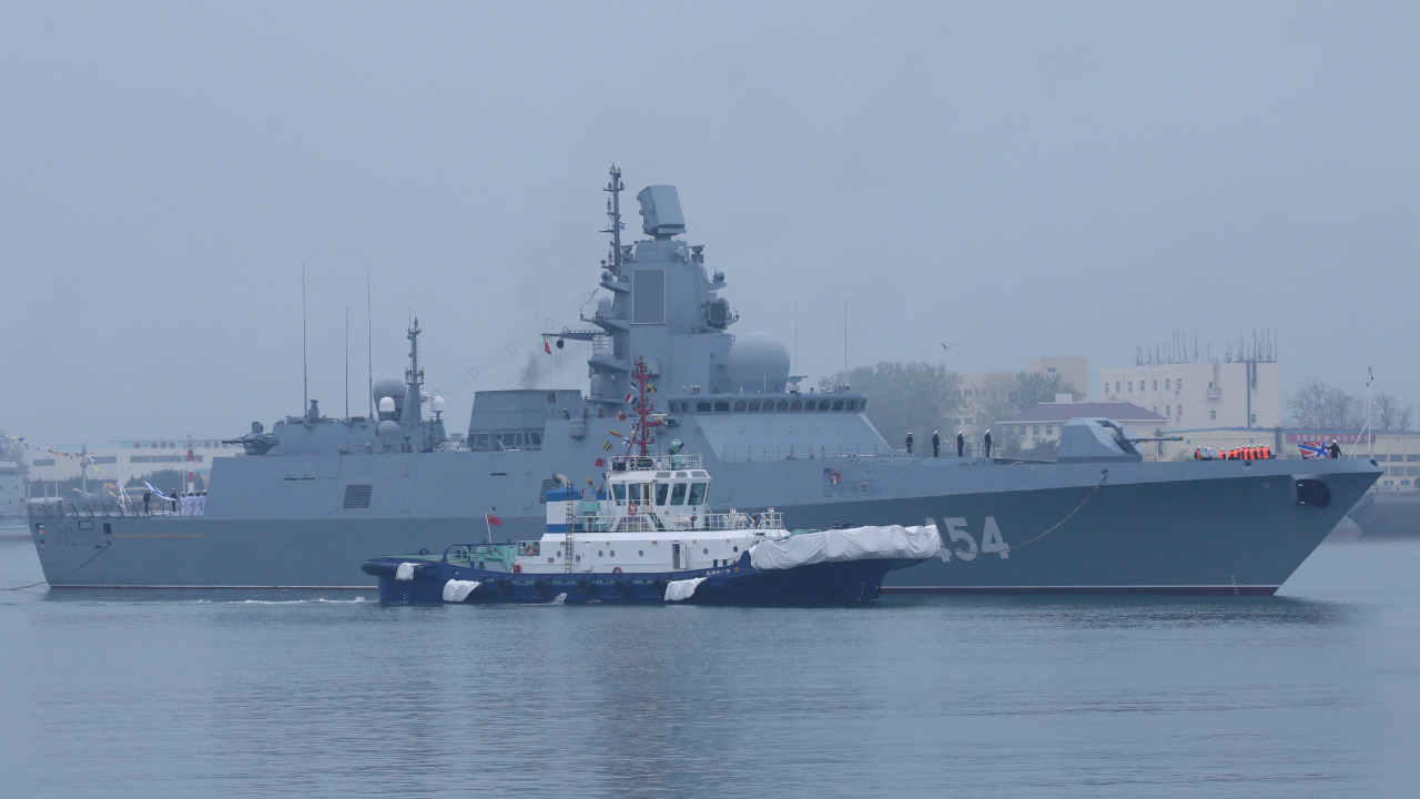 Russia navy's guided missile frigate Admiral Gorshkov arrives at Qingdao Port for the 70th anniversary celebrations of the founding of the Chinese People's Liberation Army Navy (PLAN), in Qingdao, China. (Image: Reuters)