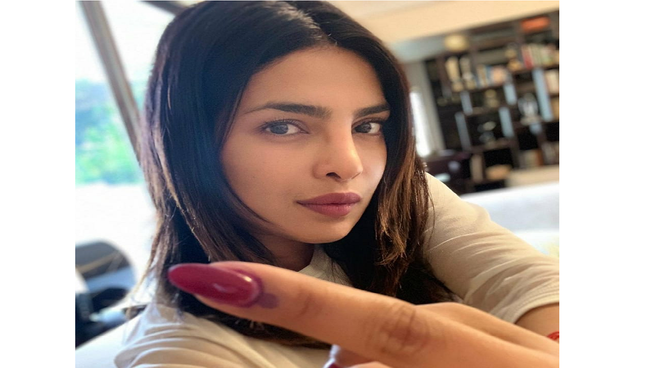 """Actor Priyanka Chopra cast her vote in Mumbai today and flashed her inked finger on her Instagram saying, """"every vote is a voice that counts."""" (Image: Twitter)"""