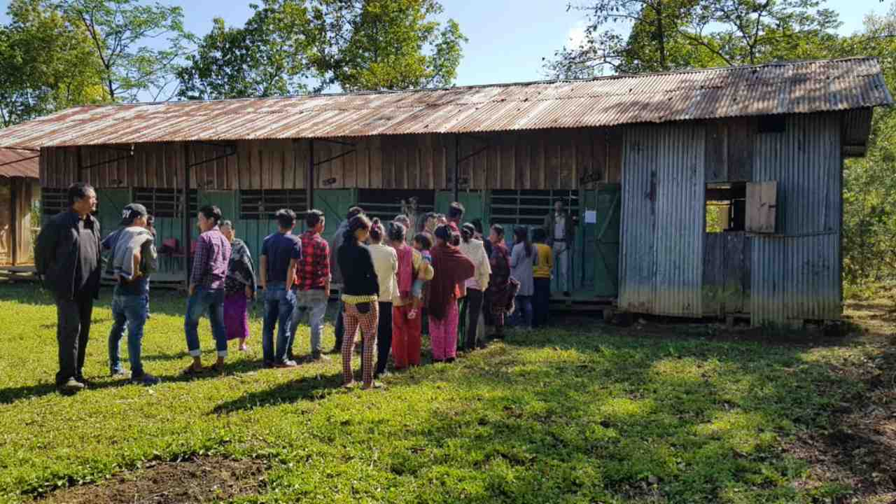 Voting underway at Tuensang district of Nagaland. The state had recorded the maximum voter turnout of 57 percent till 1.00 pm. (Image: Twitter/@SpokespersonECI)