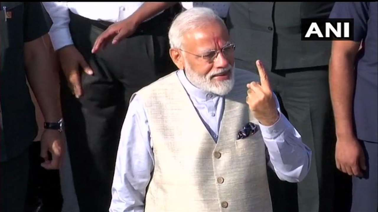 PM Modi after casting his vote in Ahmedabad. He appealed to first-time voters to come out in large numbers to cast their votes. (Image: ANI)