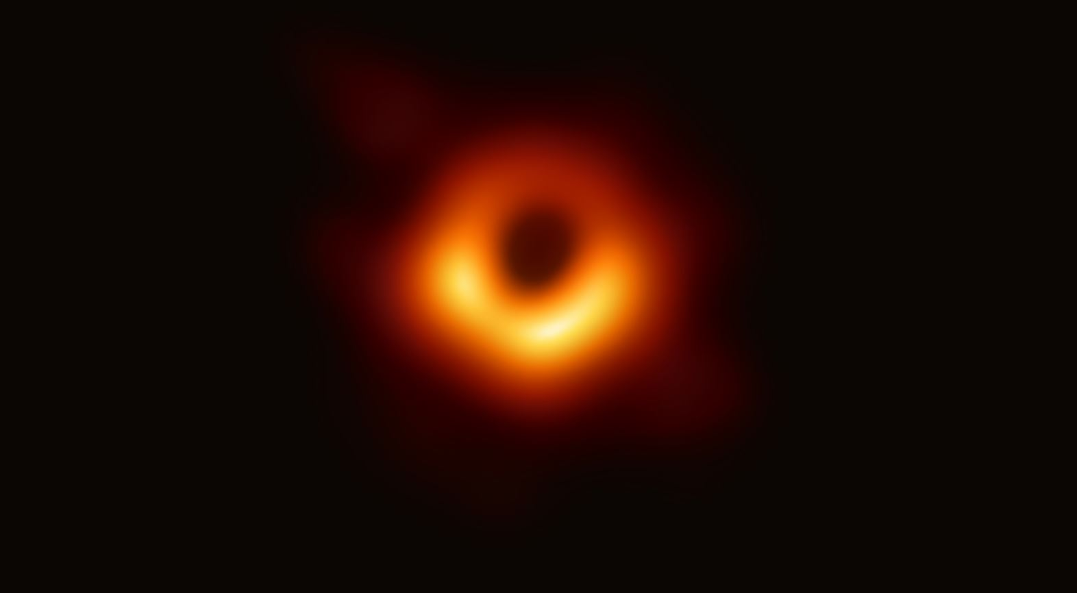 This is where scientists look for a ring of light, which is matter and radiation circling at extreme speeds around a region of darkness representing the actual black hole. (Image: Event Horizon Telescope collaboration)