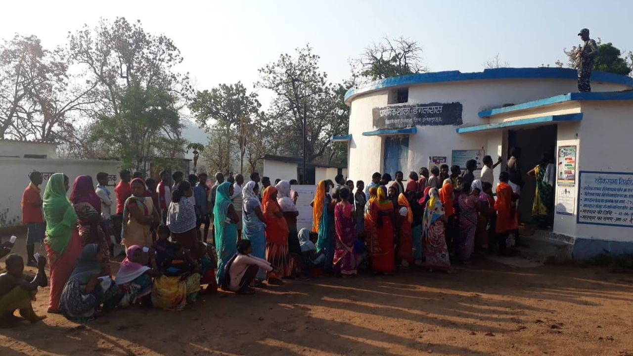 Defying all odds Voters in Chhattisgarh's Dantewada district turning out in large numbers to exercise their voting right. Voting is underway in Bastar Lok Sabha seat in phase one. (Image: Twitter/@CEOChhattisgarh)