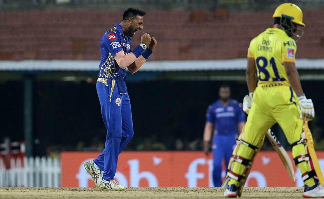 The Pandya brothers then got into the act as Hardik got Suresh Raina caught out in the 4th over and Krunal castled Ambati Rayudu for a duck in the very next over. Krunal continued to torment the batsmen with his spin and castled Kedar Jadhav too in the 8th over to reduce CSK to 45/4. (Image: BCCI, iplt20.com)