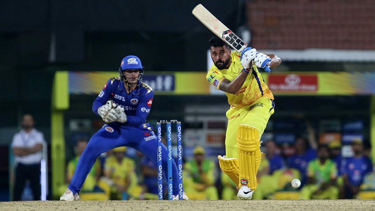 Murali Vijay was the only batsman who provided some resistance but he was finally sent back by Jasprit Bumrah in the 12th over. Vijay cut the ball straight towards Suryakumar Yadav who took a brilliant diving catch at backward point. The opener returned with 38 off 35 balls as CSK were left struggling at 66/6. (Image: BCCI, iplt20.com)