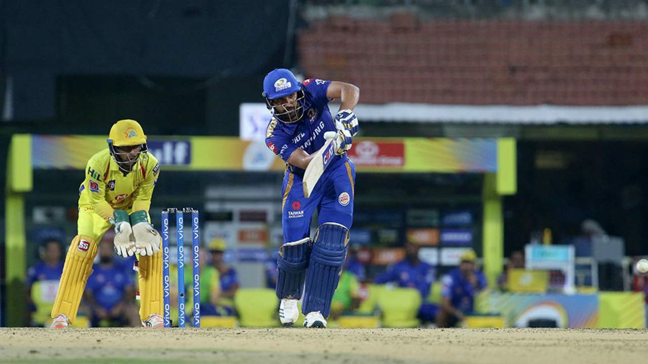 Rohit Sharma batted brilliantly on a slow and turning Chepauk track brining up his first fifty of the season off 37 balls in the 13th over. He was looking in great touch but was finally dismissed by Santner in the 17th over. Rohit returned with 67 off 48 balls. (Image: BCCI, iplt20.com)