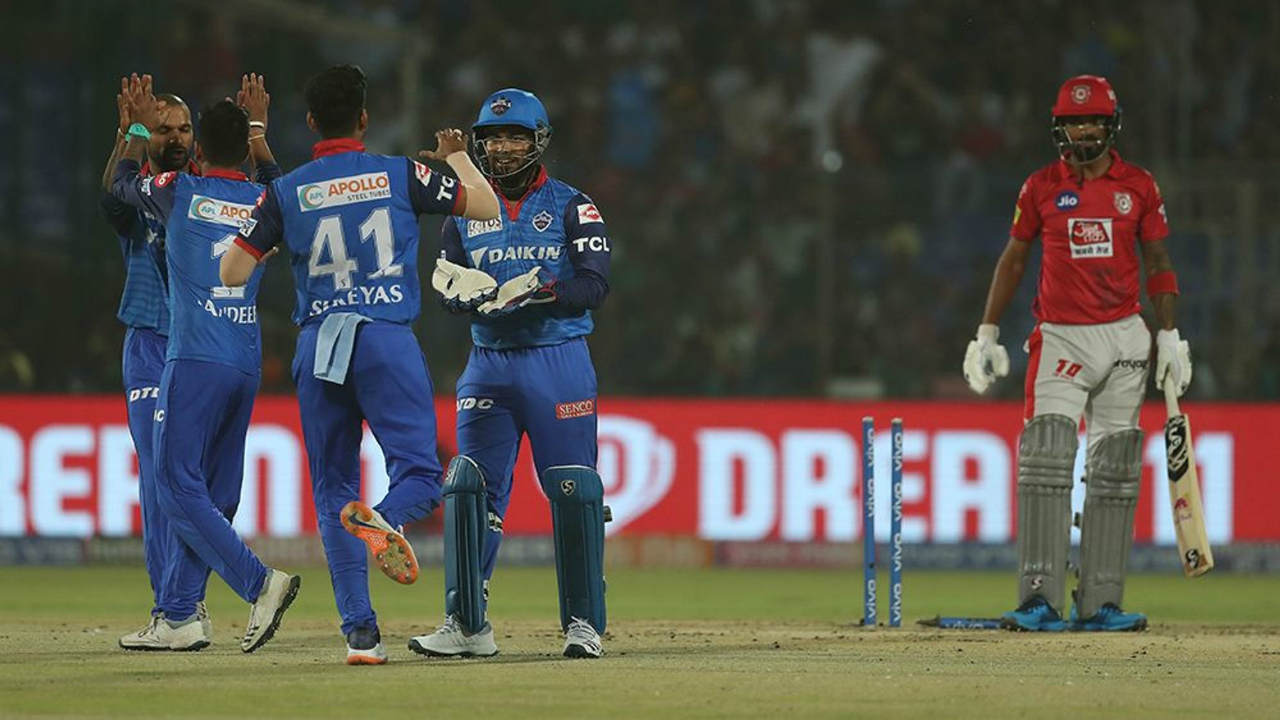 Delhi got off to a good start as Sandeep Lamichhane got KL Rahul stumped in just the 2nd over. Kagiso Rabada then entered the attack and sent back Mayank Agarwal in the 5th over. David Miller could then add only 7 runs before Axar Patel got him caught out in the 8th over. (Image: BCCI, iplt20.com)