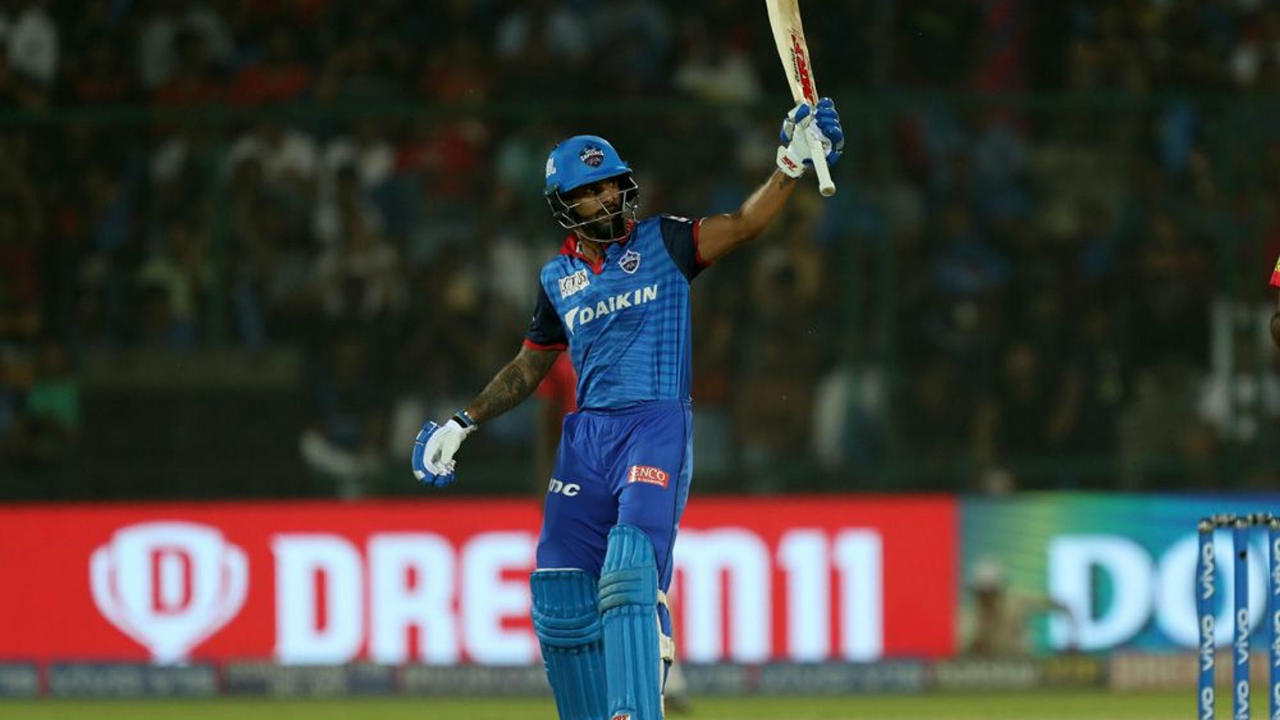 Dhawan stitched together a good 92-run partnership off just 64 balls with skipper Shreyas Iyer to steady the Delhi innings. Dhawan brought up his fifty off just 36 balls in the 12th over. Hardus Viljoen finally dismissed Dhawan (56 off 41) in the 14th over. DC were down to 116/2 with 48 required off 38 balls when Dhawan departed. (Image: BCCI, iplt20.com)