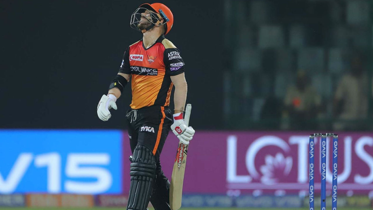 The IPL's Orange Cap holder David Warner struggled to get going and was dismissed on just 10 off 18 balls in the 8th over by Rabada. Sunrisers were reduced to 68/2 at the fall of Warner's wickets. (Image: BCCI, iplt20.com)