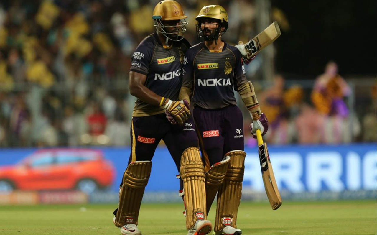 Russell and Karthik (15* off 7) added 74 runs off the last 29 balls to take KKR to a monster total of 232/2. It was the highest score of this season's IPL leaving MI with a mountain to climb at the Eden Gardens. (Image: BCCI, iplt20.com)