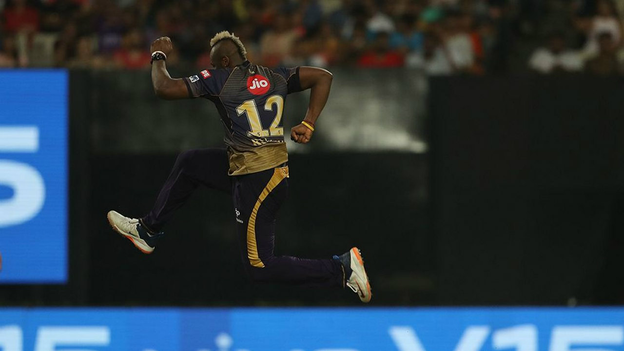 Andre Russell then picked up a wicket with his very first delivery when he got Evin Lewis caught behind in the 7th over. He returned in the 9th over to get rid of Suryakumar Yadav who got a leading edge back to the keeper. MI were struggling at 58/4 when Yadav walked back. (Image: BCCI, iplt20.com)