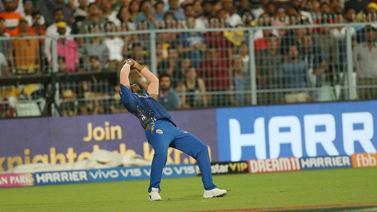 Chris Lynn brought up his fifty off just 27 balls in the 9th over. He was finally dismissed in the next over as he went for a big slog against Rahul Chahar and Evin Lewis did well to keep his eyes on the ball and take a good reverse-cupped catch. (Image: BCCI, iplt20.com)